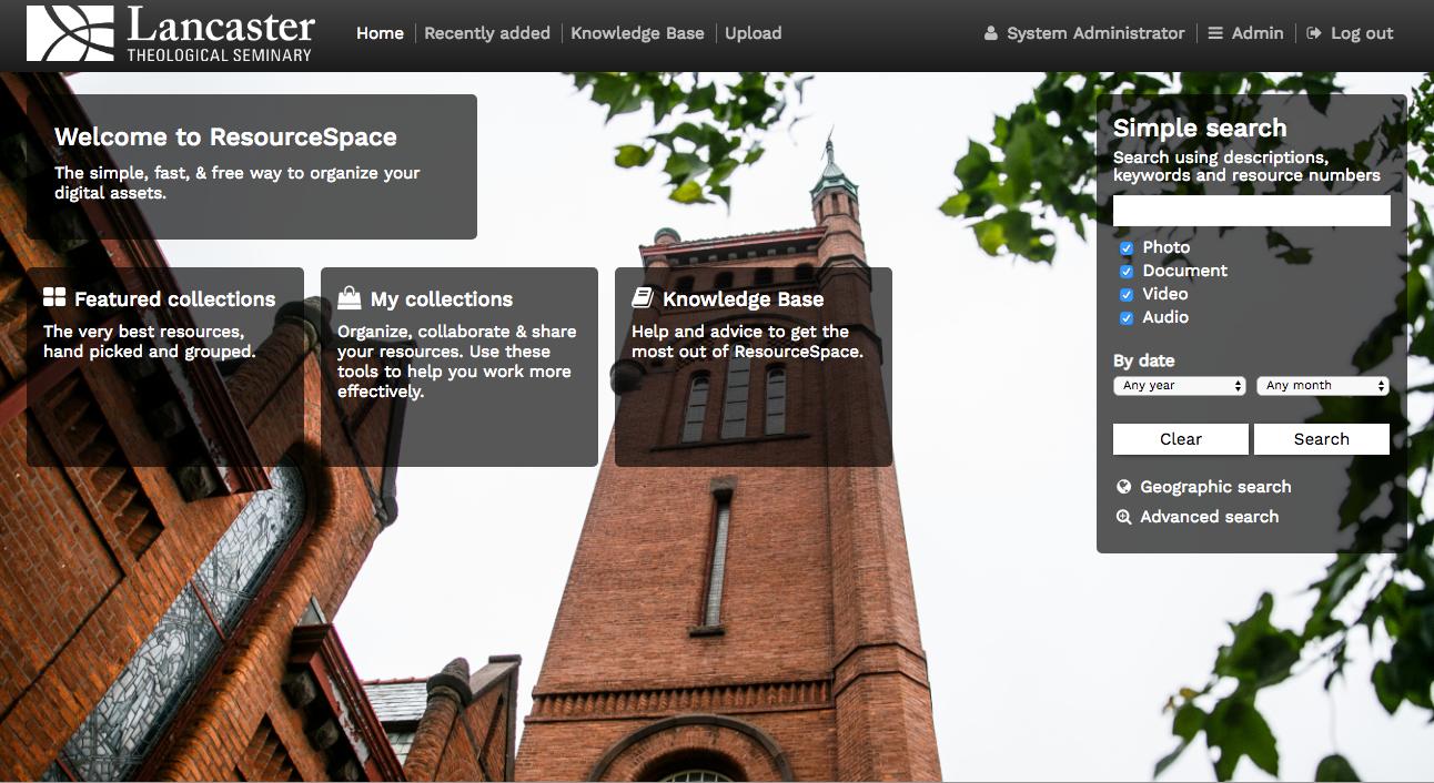 Screenshot of the ResourceSpace dashboard