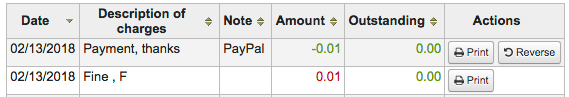Screenshot of Koha patron fines and PayPal transaction