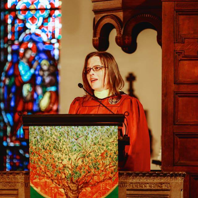 Myka Kennedy Stephens speaking at Lancaster Theological Seminary 2018 Convocation