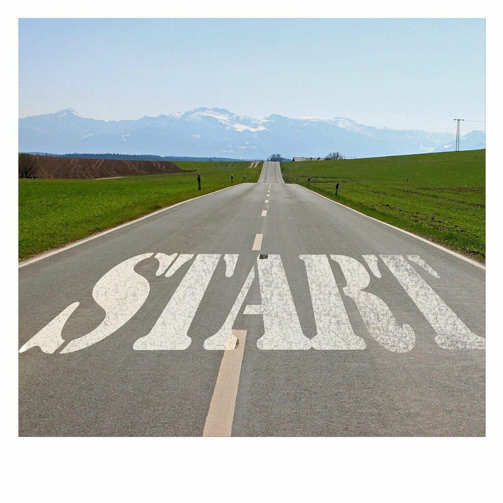 stock photo of road leading toward horizon